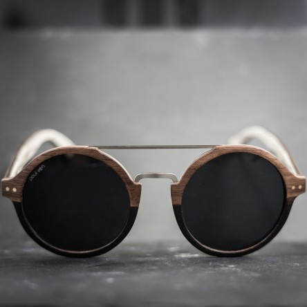 Round Style Walnut Ebony Wood Sunglasses, Metal Bridge