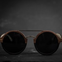 Round Style Walnut Ebony Wood Sunglasses, Metal Bridge