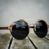 Round Style Zebra Ebony Wood Sunglasses, Steel Bridge