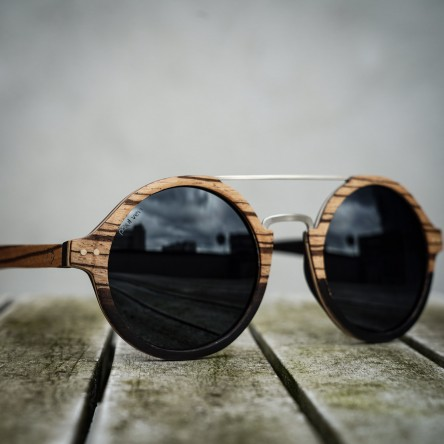 Round Style Zebra Ebony Wood Sunglasses, Steel Bridge