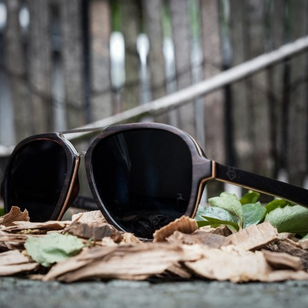 Aviator Sunglasses With Metal Bridge, Ebony Wood Sunglasses