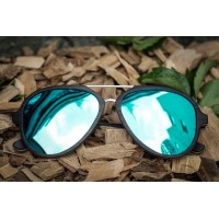 Aviator Sunglasses With Metal Bridge, Ebony Wood Sunglasses + Blue Mirrored Lenses
