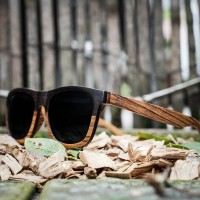 Wayfarer Style Ebony and Zebra Wood Sunglasses