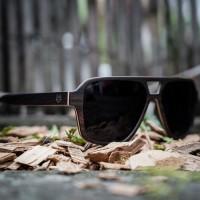 Aviator Square, Ebony Wood Sunglasses