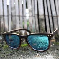 Square Wayfarer Ebony Wood Sunglasses Blue Mirrored Lenses