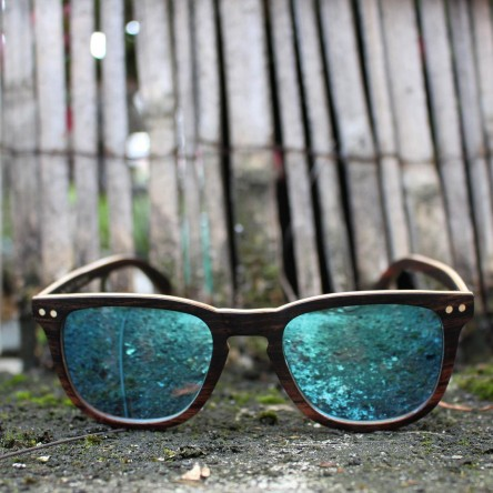 Square Wayfarer Ebony Wood Sunglasses Blue Mirrored Lenses