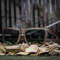 Flat Top Style Walnut Wood Sunglasses with G15 Lenses