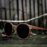 Round Style Zebra Wood Sunglasses