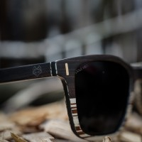 Square Wayfarer Wood Sunglasses Large, Ebony and Ice tree wood