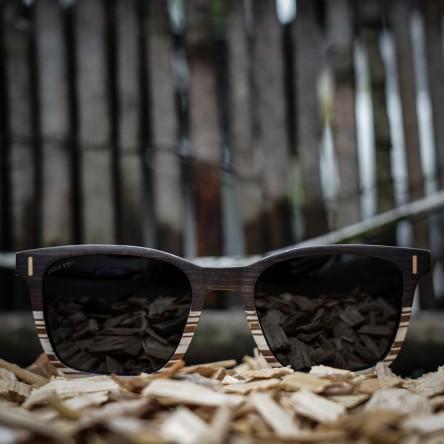 Square Wayfarer Wood Sunglasses Large, Ebony and Ice tree wood