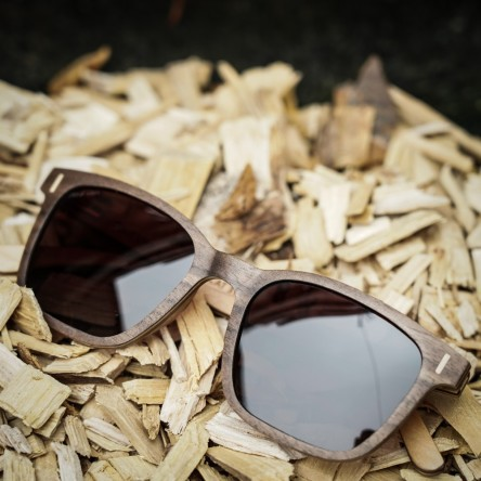 Square Wayfarer Wood Sunglasses Large, Walnut Wood, Brown Lenses