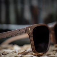 Square Wayfarer Wood Sunglasses Large, Walnut Wood, Brown Lenses