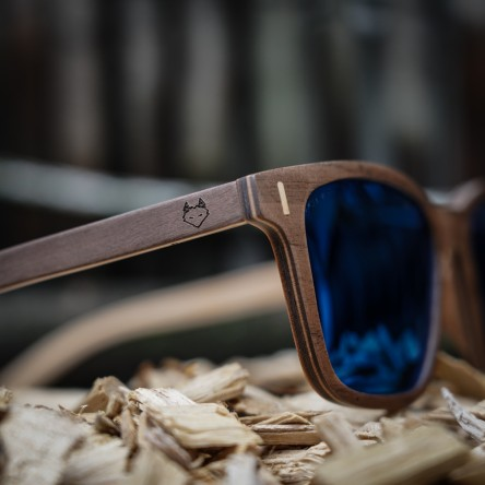 Square Wayfarer Wood Sunglasses Large, Walnut Wood, Blue mirrored lenses