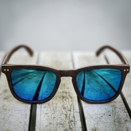 Square Wayfarer Burl Walnut Wood Sunglasses, Mirrored Blue Lenses