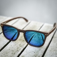 Square Wayfarer Burl Walnut Wood Sunglasses, Mirrored Blue Lenses