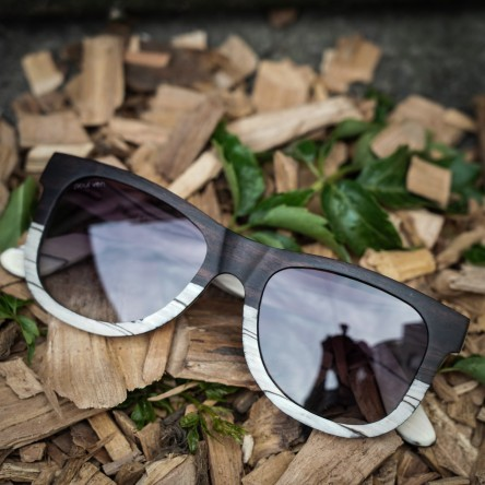 Wayfarer Style Ebony and Ice Tree Wood Sunglasses