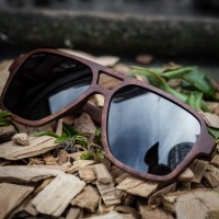 Aviator Square, Red Burl Wood Sunglasses