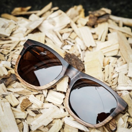 Wayfarer Style Ebony and Zebra Wood Sunglasses, Brown Lenses