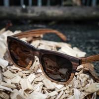 Wayfarer Style Ebony and Zebra Wood Sunglasses, Brown Lenses