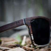 Wayfarer style Wood Sunglasses - Ebony and Ice tree Wood