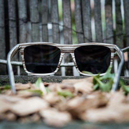 Wayfarer style Wood Sunglasses - Ebony and Ice tree Wood