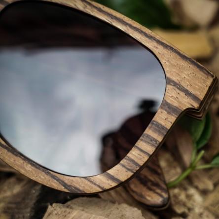 Wayfarer Style Zebra Wood Sunglasses