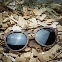 Round Style Walnut Wood Sunglasses With Steel Wood Bridge