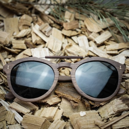 Round Style Walnut Wood Sunglasses With Steel Wood Bridge