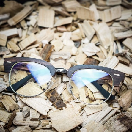 Clubmaster style Wood Blue Light Blocking Glasses