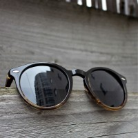 Acetate and Wood Round Sunglasses Black