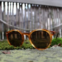 Acetate and Wood Round Sunglasses Light Tortoise