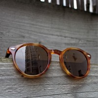 Acetate and Wood Round Sunglasses Light Tortoise