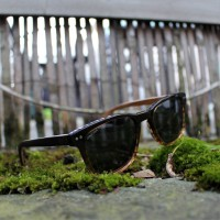 Acetate and Wood Square Wayfarer Sunglasses Dark Lenses