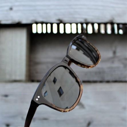 Acetate and Wood Square Wayfarer Sunglasses Dark Lenses