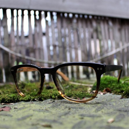 Acetate and Wood Square Wayfarer Sunglasses Light Lenses