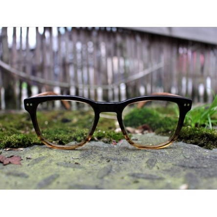 Acetate and Wood Square Wayfarer Sunglasses Light Lenses