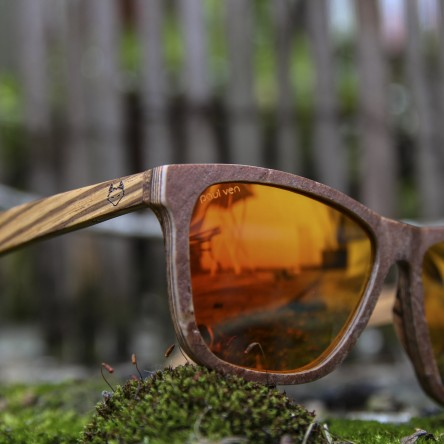 Stone and Wood Wayfarer Sunglasses Red Orange Mirrored