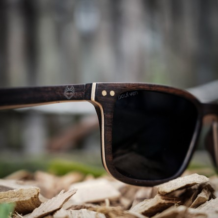 Square Wayfarer Small Ebony Wood Sunglasses