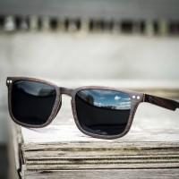 Square Wayfarer Small Ebony Wood Sunglasses