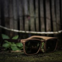 Square Wayfarer Small Walnut Wood Sunglasses