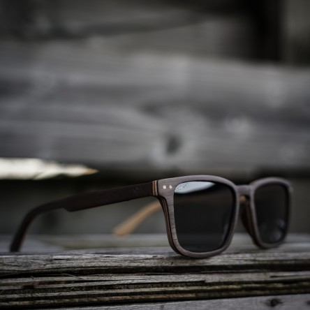 Square Wayfarer Small Walnut Wood Sunglasses