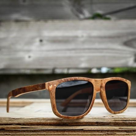 Flat Top Style Burl Wood Sunglasses