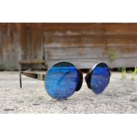 Round Style Steel And Ebony Wood Sunglasses Blue Mirrored Lenses