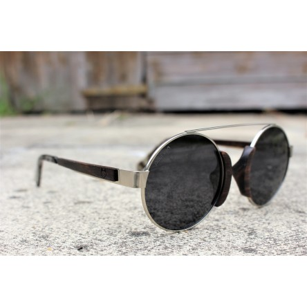 Round Style Steel And Ebony Wood Sunglasses