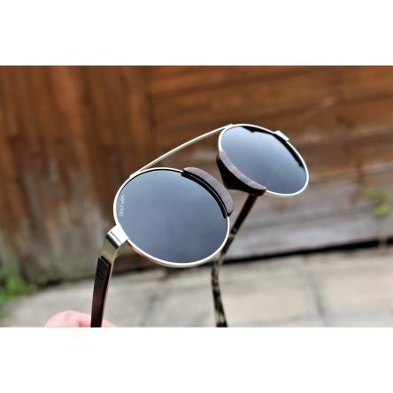 Round Style Steel And Ebony Wood Sunglasses