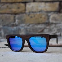 Flat Top Style Bamboo Wood Sunglasses, Blue Mirrored Lenses