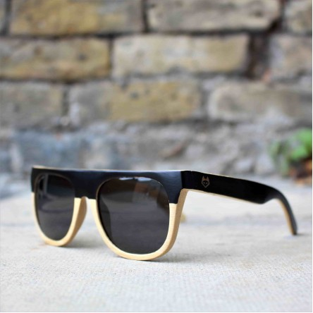 Flat Top Style Bamboo Wood Sunglasses, Two Colour Frame