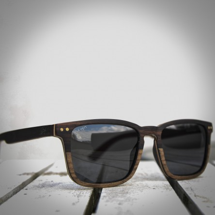 Square Wayfarer Small Ebony Walnut Wood Sunglasses