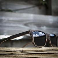 Square Wayfarer Small Ebony Walnut Wood Sunglasses