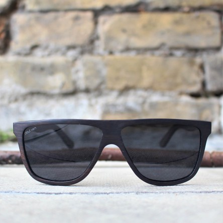 Flat Top Future Style Ebony Wood Sunglasses